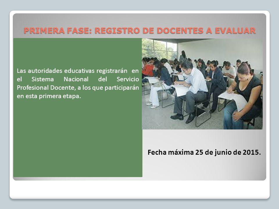 PRIMERA FASE: REGISTRO DE DOCENTES A EVALUAR Fecha máxima 25 de junio de 2015.