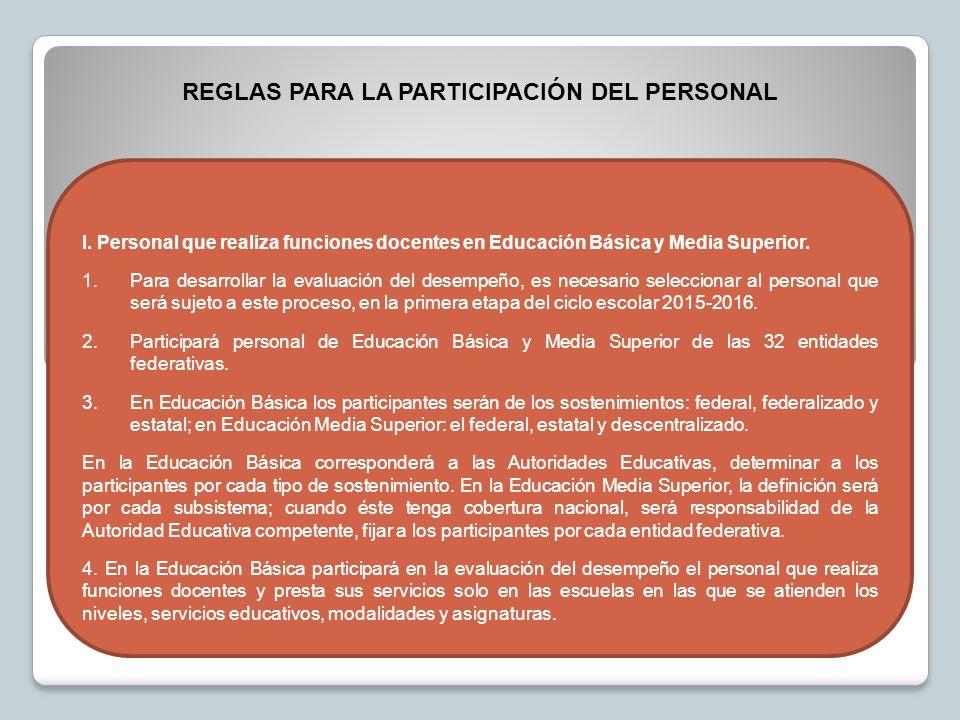 I. Personal que realiza funciones docentes en Educación Básica y Media Superior.