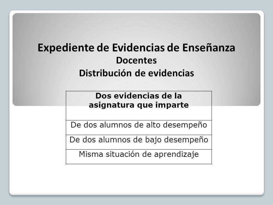Dos evidencias de la asignatura que imparte De dos alumnos de alto desempeño De dos alumnos de bajo desempeño Misma situación de aprendizaje Expediente de Evidencias de Enseñanza Docentes Distribución de evidencias
