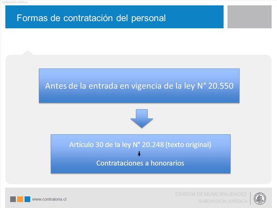 Formas de contratación del personal DIVISIÓN DE MUNICIPALIDADES SUBDIVISIÓN JURÍDICA Antes de la entrada en vigencia de la ley N° 20.550 Artículo 30 d