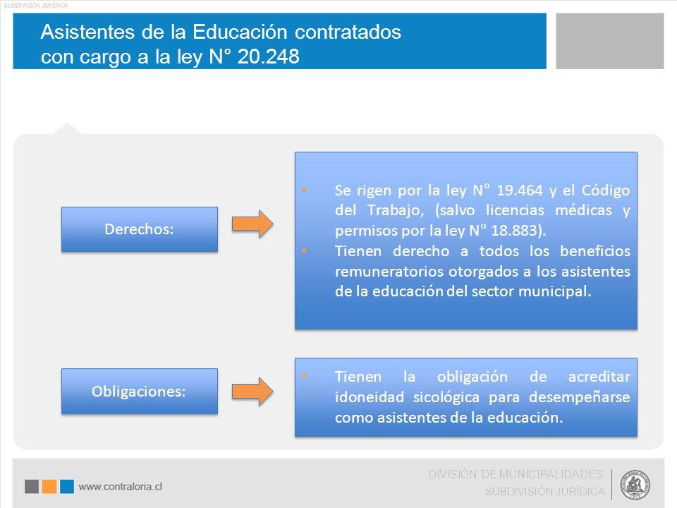 Asistentes de la Educación contratados con cargo a la ley N° 20.248 DIVISIÓN DE MUNICIPALIDADES SUBDIVISIÓN JURÍDICA Derechos: Se rigen por la ley N°