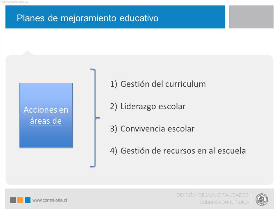 Planes de mejoramiento educativo DIVISIÓN DE MUNICIPALIDADES SUBDIVISIÓN JURÍDICA Acciones en áreas de 1)Gestión del curriculum 2)Liderazgo escolar 3)