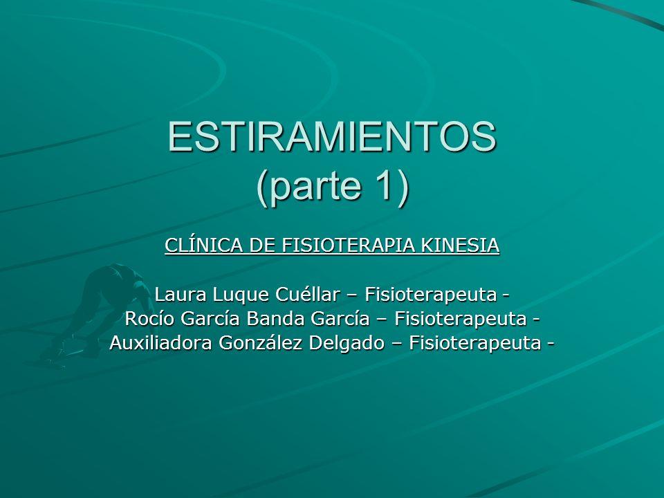 ESTIRAMIENTOS (parte 1) CLÍNICA DE FISIOTERAPIA KINESIA Laura Luque Cuéllar – Fisioterapeuta - Rocío García Banda García – Fisioterapeuta - Auxiliador