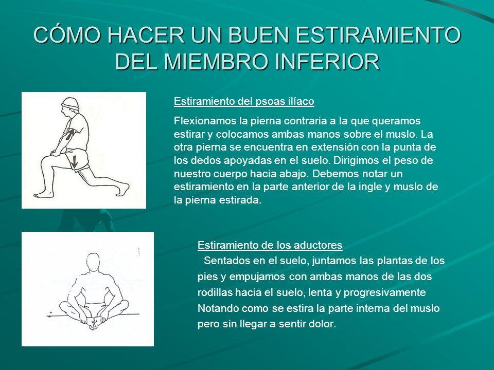 CÓMO HACER UN BUEN ESTIRAMIENTO DEL MIEMBRO INFERIOR Estiramiento de los músculos isquiotibiales En los músculos isquiotibiales se asientan gran parte de las lesiones del miembro inferior por lo que debemos prestarle una gran atención a la hora de su estiramiento.