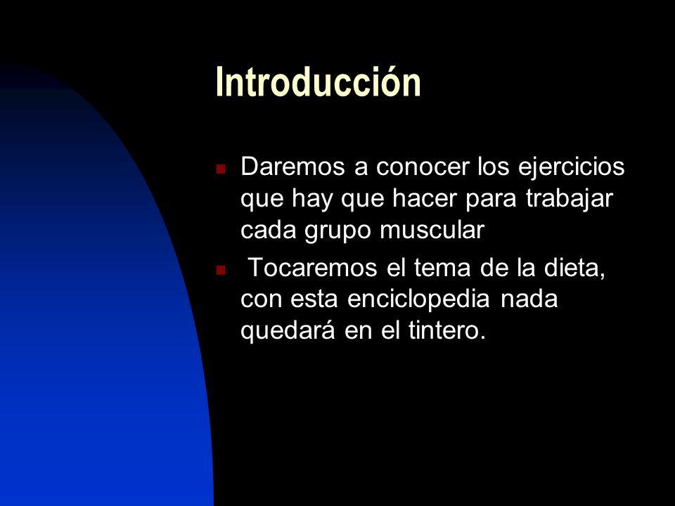 Introducción Daremos a conocer los ejercicios que hay que hacer para trabajar cada grupo muscular Tocaremos el tema de la dieta, con esta enciclopedia nada quedará en el tintero.