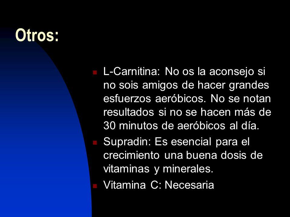 Otros: L-Carnitina: No os la aconsejo si no sois amigos de hacer grandes esfuerzos aeróbicos.