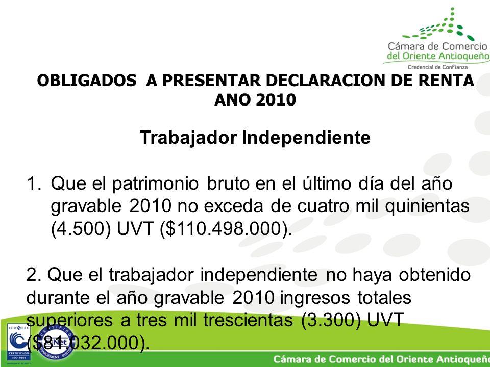 OBLIGADOS A PRESENTAR DECLARACION DE RENTA ANO 2010 Trabajador Independiente 1.Que el patrimonio bruto en el último día del año gravable 2010 no exceda de cuatro mil quinientas (4.500) UVT ($110.498.000).