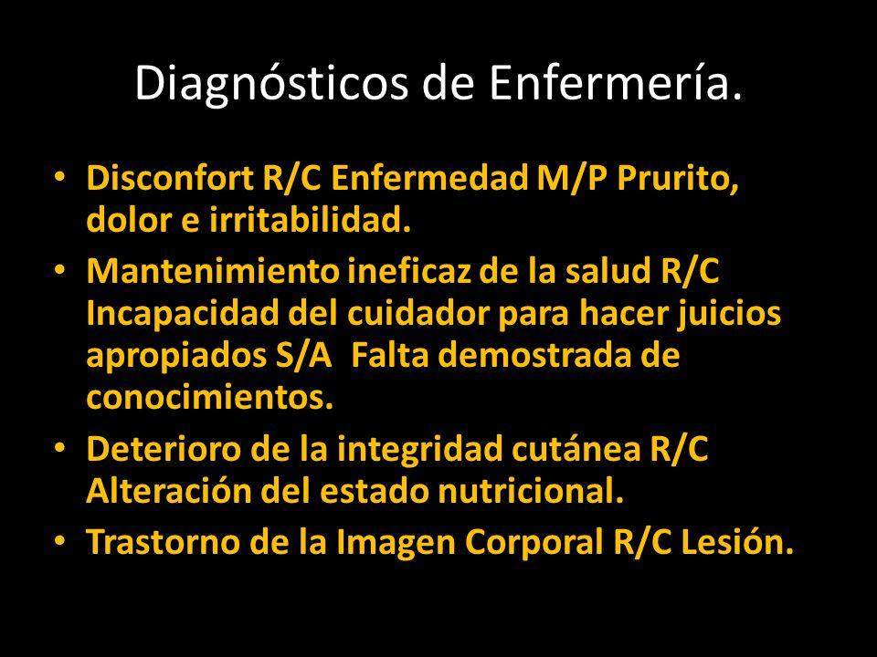 Diagnósticos de Enfermería. Disconfort R/C Enfermedad M/P Prurito, dolor e irritabilidad.