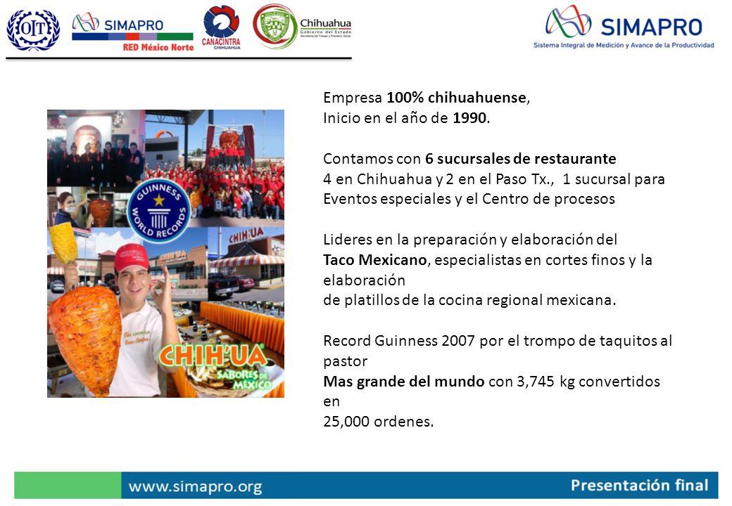 Empresa 100% chihuahuense, Inicio en el año de 1990. Contamos con 6 sucursales de restaurante 4 en Chihuahua y 2 en el Paso Tx., 1 sucursal para Event