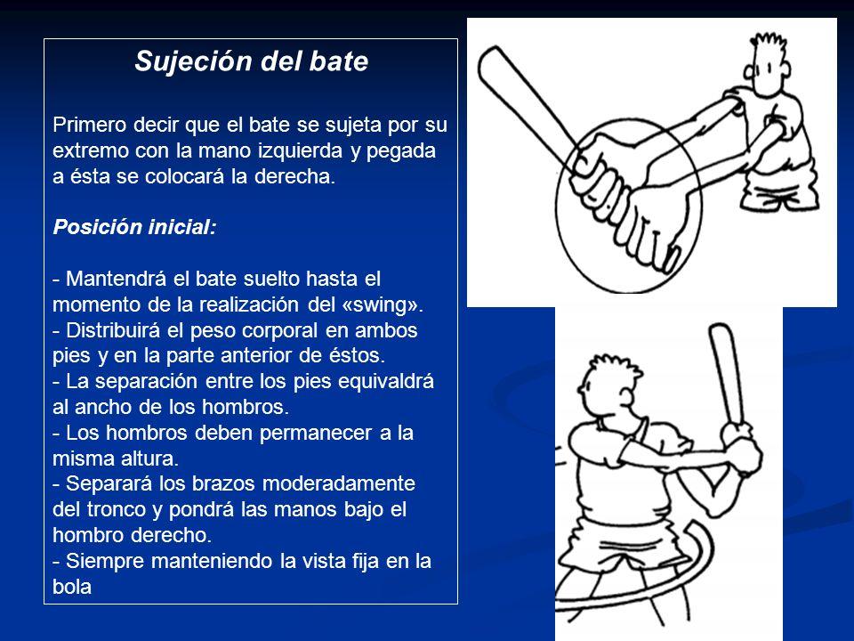 Sujeción del bate Primero decir que el bate se sujeta por su extremo con la mano izquierda y pegada a ésta se colocará la derecha. Posición inicial: -
