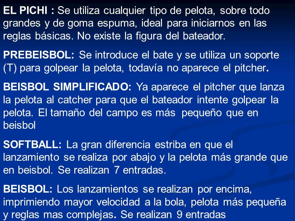 EL PICHI : Se utiliza cualquier tipo de pelota, sobre todo grandes y de goma espuma, ideal para iniciarnos en las reglas básicas. No existe la figura
