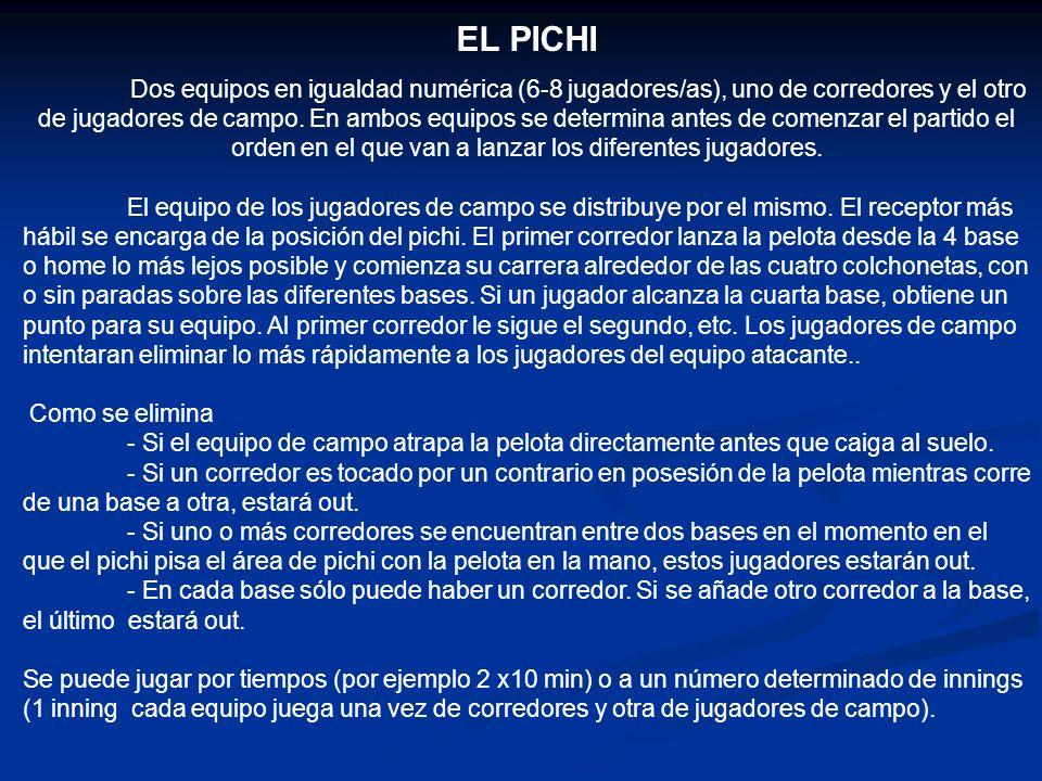 EL PICHI Dos equipos en igualdad numérica (6-8 jugadores/as), uno de corredores y el otro de jugadores de campo.