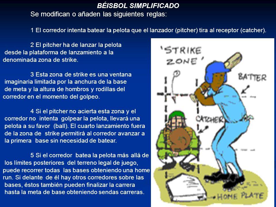 BÉISBOL SIMPLIFICADO Se modifican o añaden las siguientes reglas: 1 El corredor intenta batear la pelota que el lanzador (pitcher) tira al receptor (catcher).