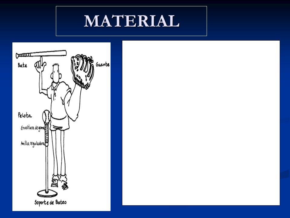MATERIAL.El bate: es de goma-espuma, plástico, madera o aluminio. Se escogen unos u otros, de diferentes tamaños y pesos en función del nivel de juego