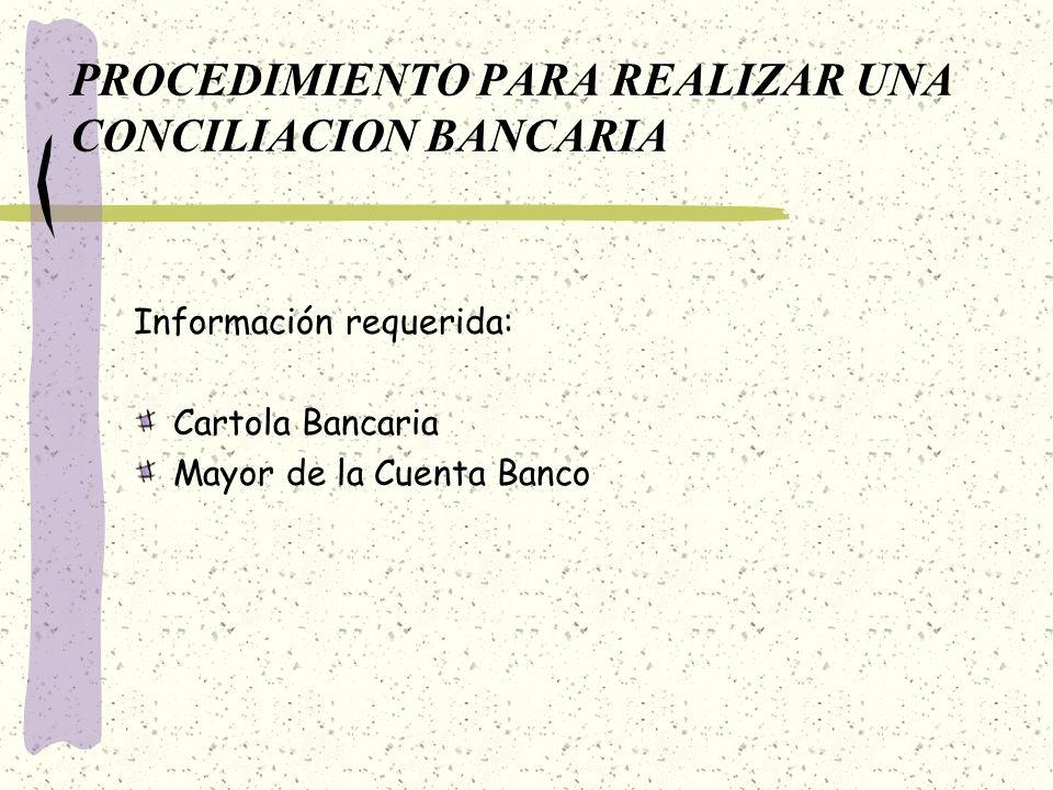 PROCEDIMIENTO PARA REALIZAR UNA CONCILIACION BANCARIA Información requerida: Cartola Bancaria Mayor de la Cuenta Banco