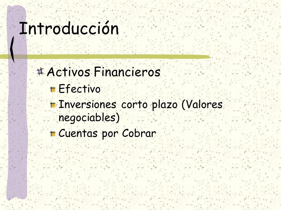 Introducción Activos Financieros Efectivo Inversiones corto plazo (Valores negociables) Cuentas por Cobrar