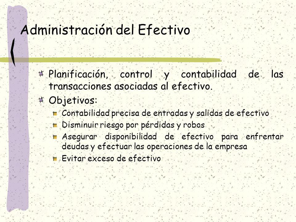 Administración del Efectivo Planificación, control y contabilidad de las transacciones asociadas al efectivo.
