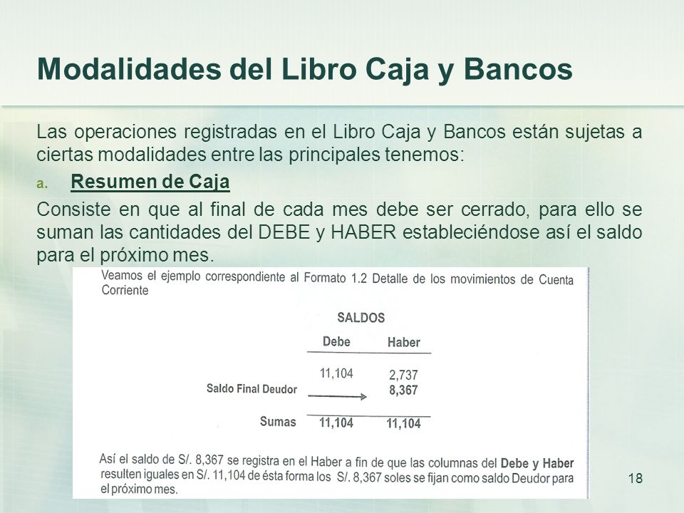 Modalidades del Libro Caja y Bancos Las operaciones registradas en el Libro Caja y Bancos están sujetas a ciertas modalidades entre las principales tenemos: a.