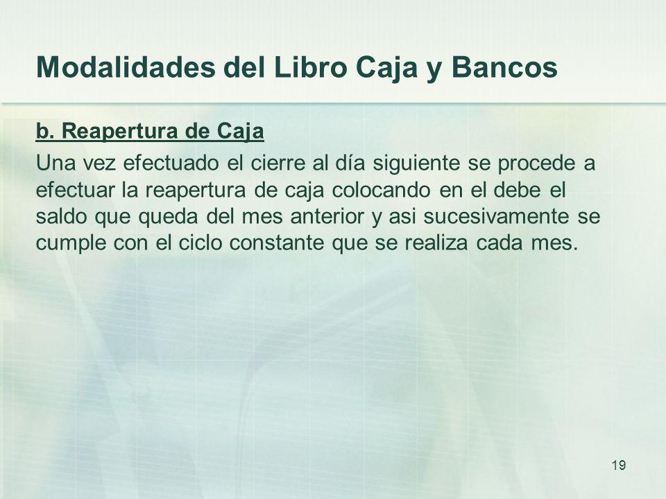 Modalidades del Libro Caja y Bancos b.