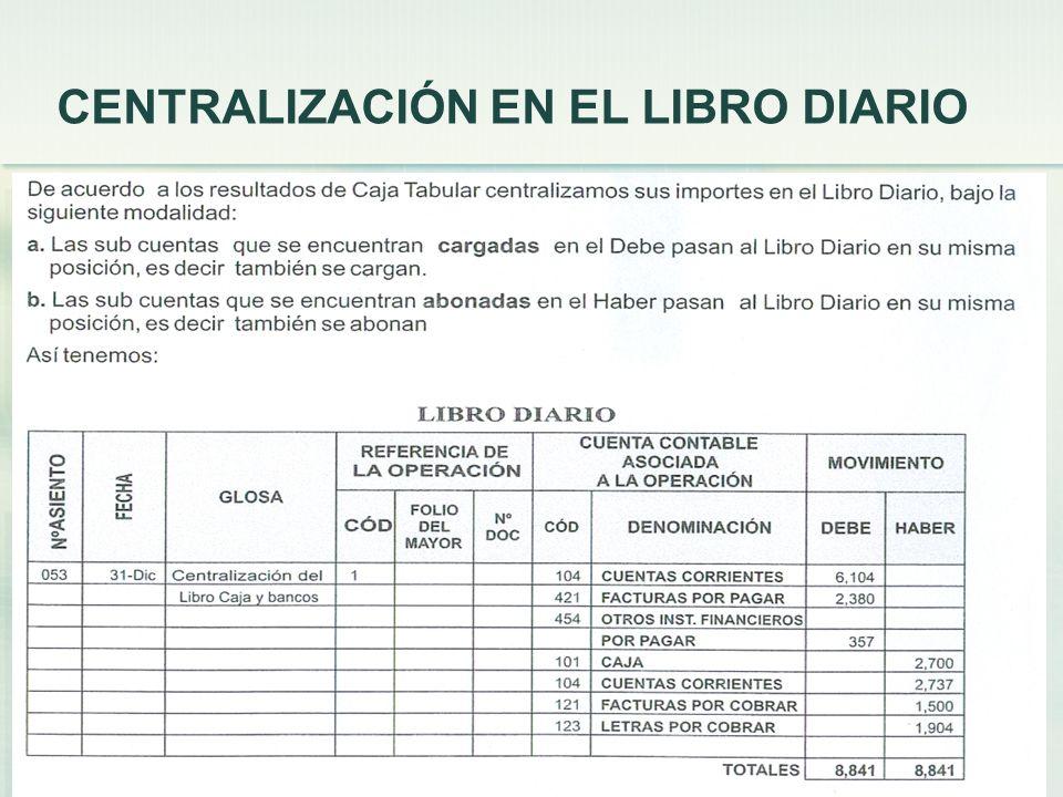 CENTRALIZACIÓN EN EL LIBRO DIARIO 21