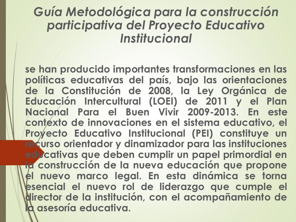  La guía de la construcción participativa del PEI está organizada sobre la base de las siguientes preguntas:  (1)¿Por qué es importante la construcción participativa del PEI?,  (2)¿Cómo queremos que sea nuestra institución educativa?,  (3) ¿Cuál es la realidad de nuestra institución educativa?,  (4) ¿Cómo planificamos el cambio en nuestra institución educativa.
