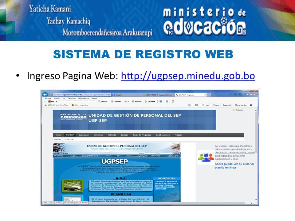 SISTEMA DE REGISTRO WEB Ingreso Pagina Web: http://ugpsep.minedu.gob.bohttp://ugpsep.minedu.gob.bo