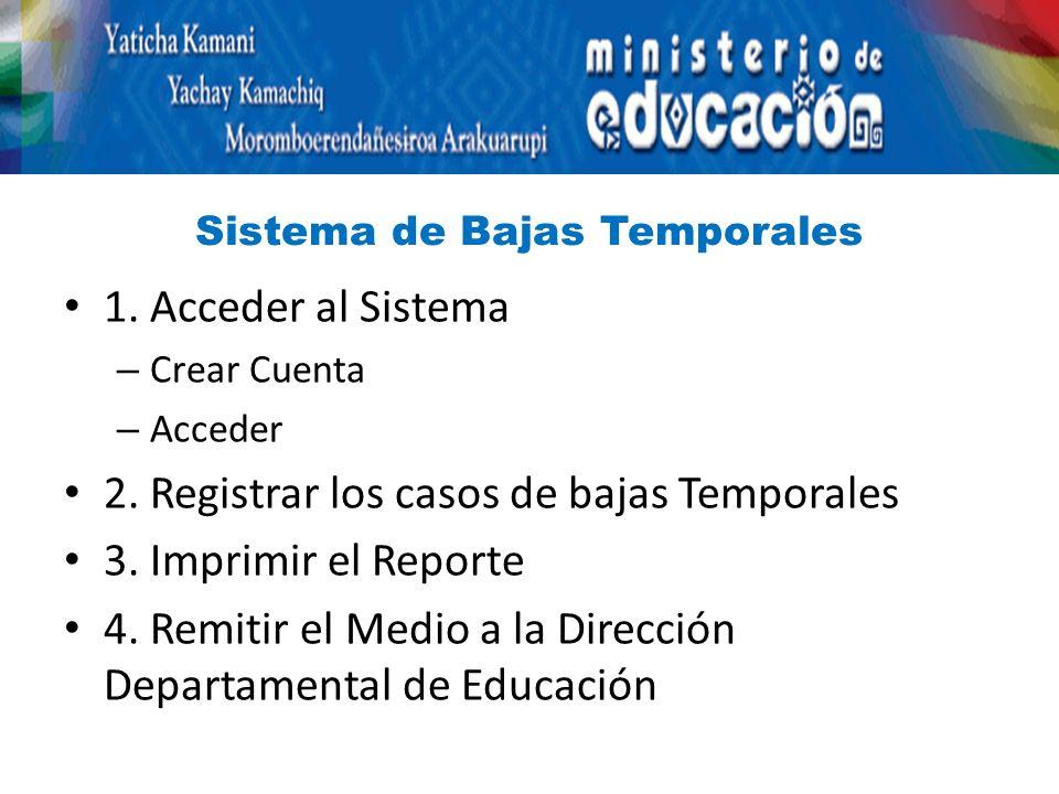 Sistema de Bajas Temporales 1. Acceder al Sistema – Crear Cuenta – Acceder 2.