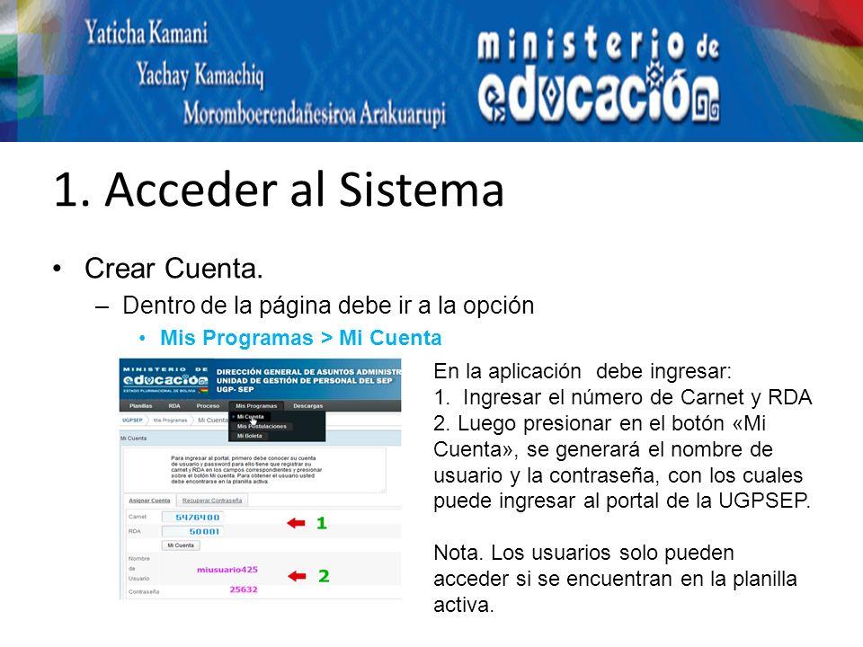 1. Acceder al Sistema Crear Cuenta.
