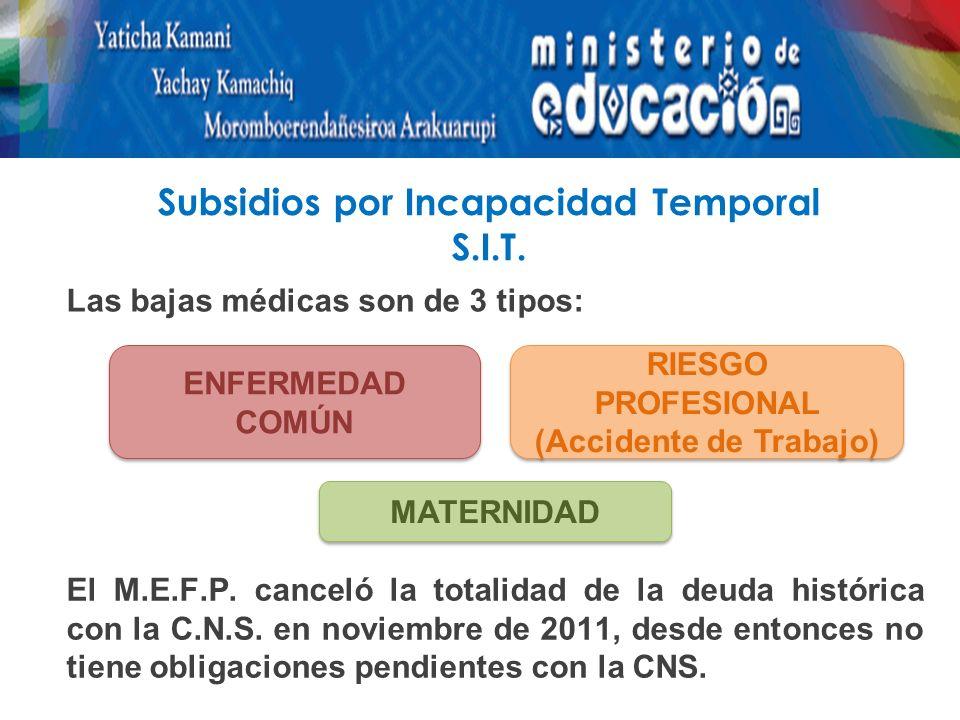 Subsidios por Incapacidad Temporal S.I.T.