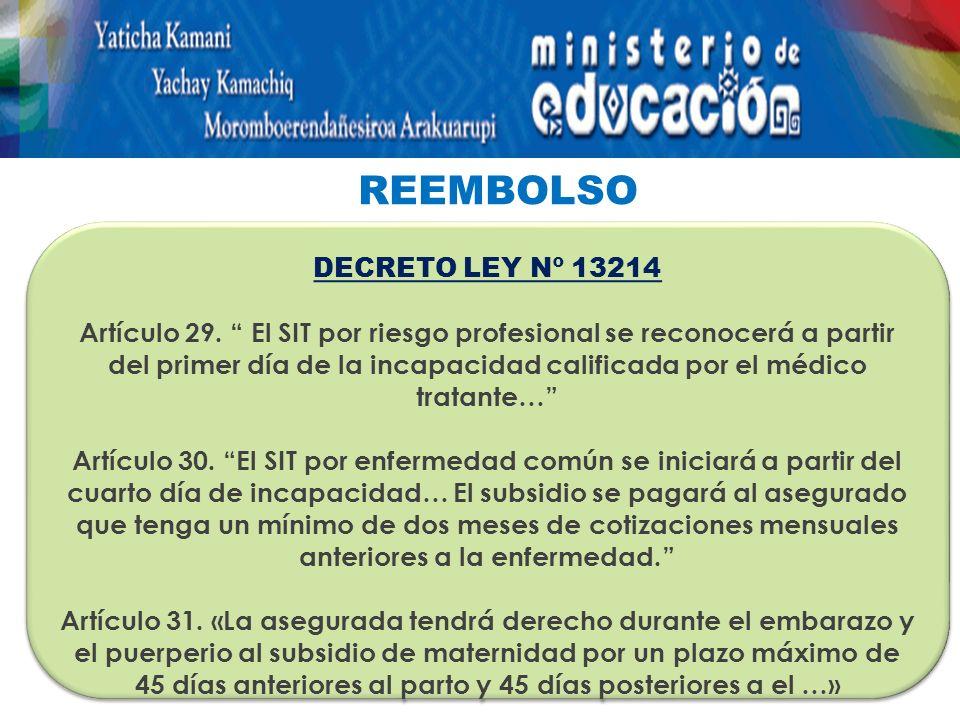 REEMBOLSO DECRETO LEY Nº 13214 Artículo 29.