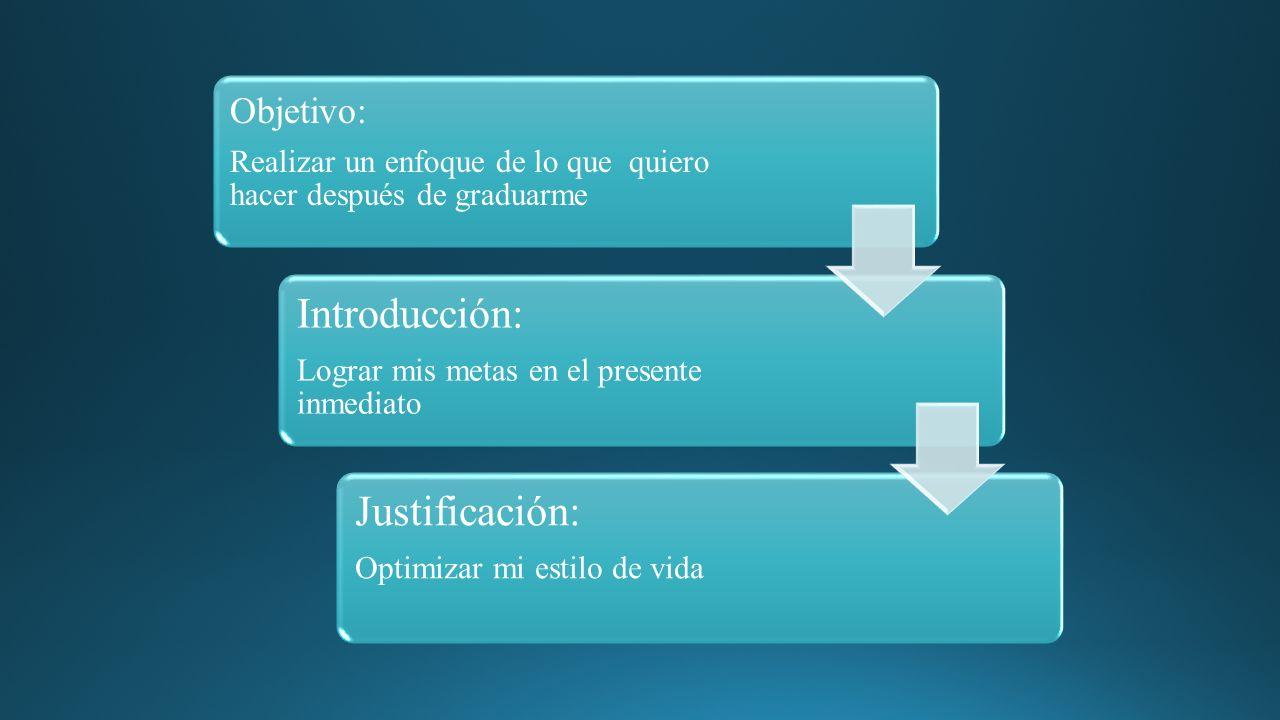 Objetivo: Realizar un enfoque de lo que quiero hacer después de graduarme Introducción: Lograr mis metas en el presente inmediato Justificación: Optimizar mi estilo de vida