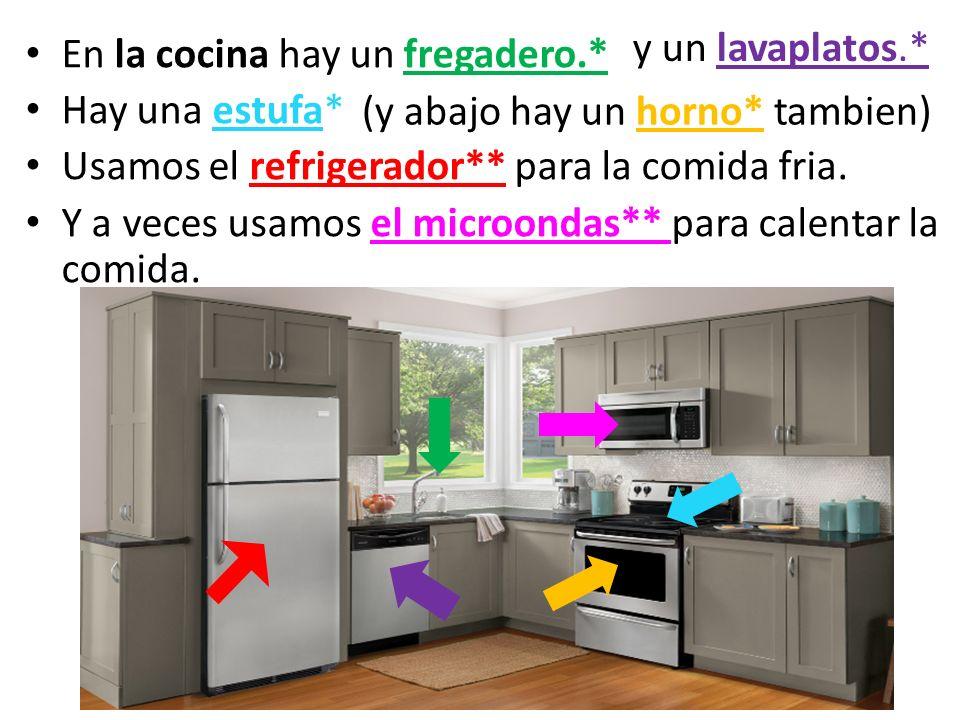 En la cocina hay un fregadero.* Hay una estufa* Usamos el refrigerador** para la comida fria. Y a veces usamos el microondas** para calentar la comida