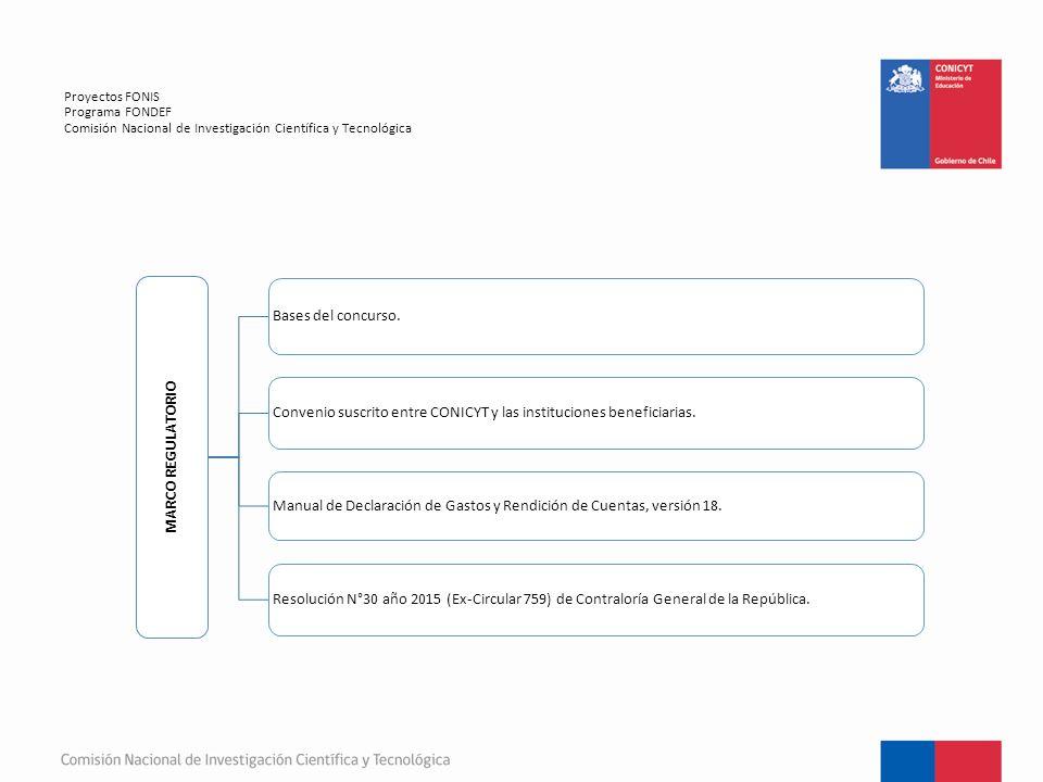 Proyectos FONIS Programa FONDEF Comisión Nacional de Investigación Científica y Tecnológica MARCO REGULATORIO Bases del concurso.