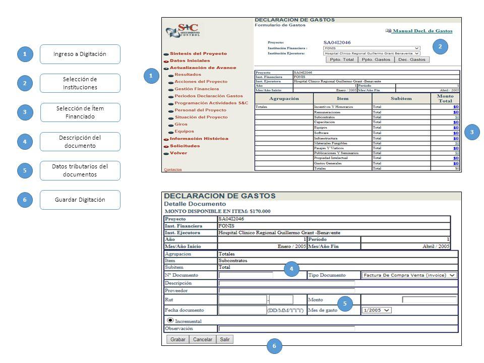 1 2 3 4 5 6 1 2 3 4 5 6 Ingreso a Digitación Selección de Instituciones Selección de Ítem Financiado Descripción del documento Datos tributarios del documentos Guardar Digitación