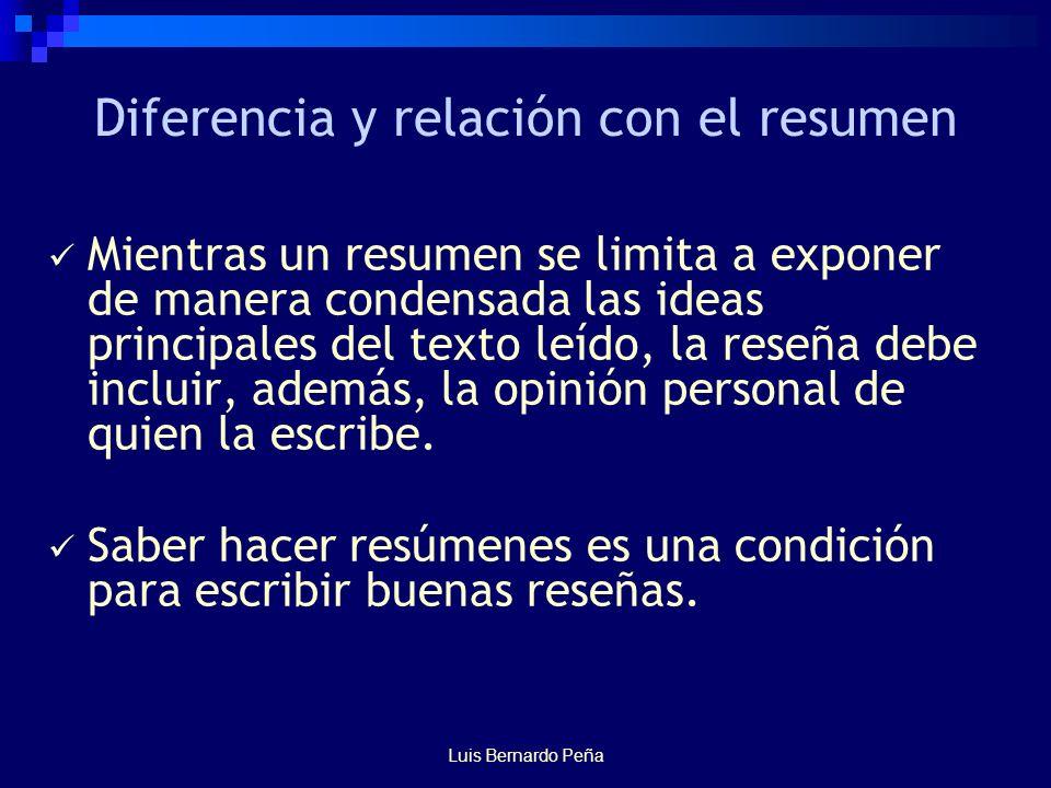 Luis Bernardo Peña Diferencia y relación con el resumen Mientras un resumen se limita a exponer de manera condensada las ideas principales del texto leído, la reseña debe incluir, además, la opinión personal de quien la escribe.
