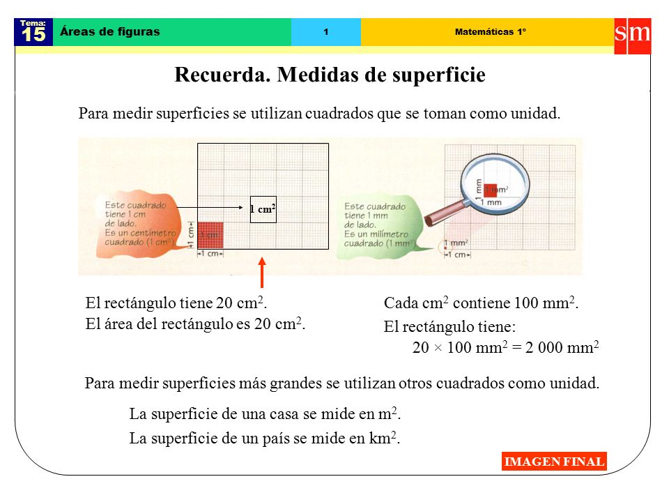 Tema: 15 Áreas de figuras 1Matemáticas 1º Recuerda.