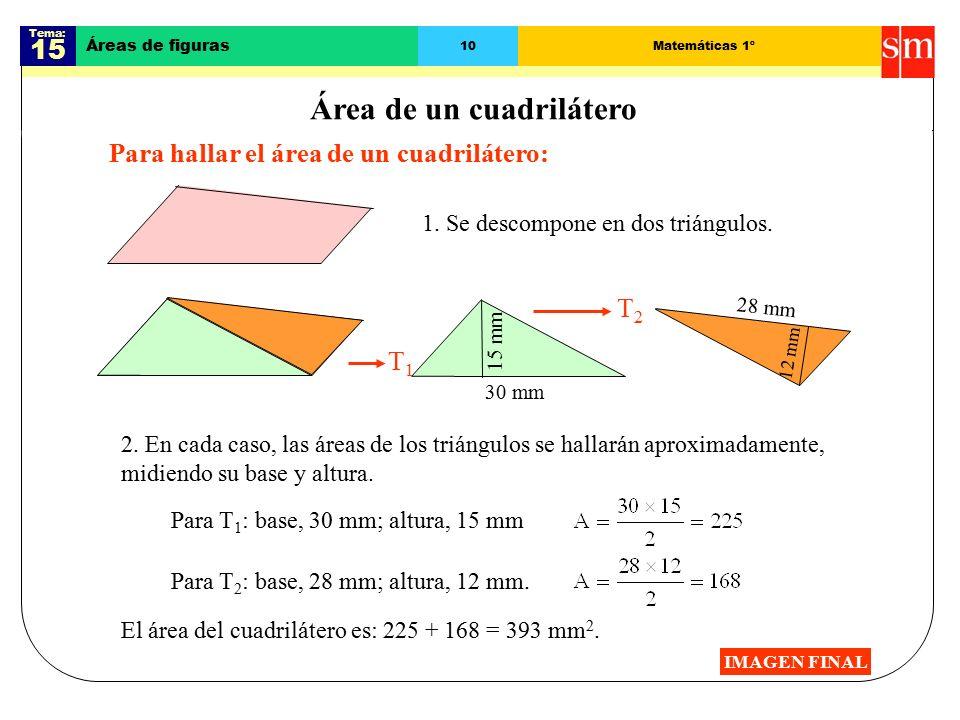 Tema: 15 Áreas de figuras 10Matemáticas 1º Área de un cuadrilátero Para hallar el área de un cuadrilátero: IMAGEN FINAL 2.