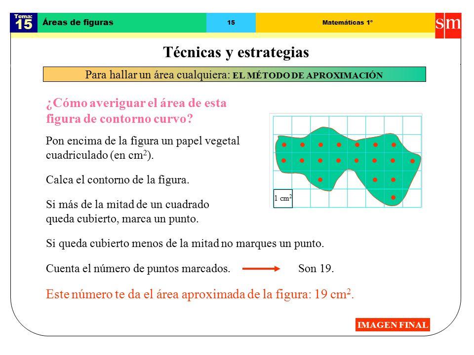 Tema: 15 Áreas de figuras 15Matemáticas 1º IMAGEN FINAL ¿Cómo averiguar el área de esta figura de contorno curvo.