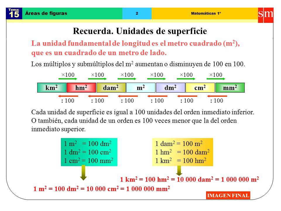 Tema: 15 Áreas de figuras 2Matemáticas 1º Recuerda.