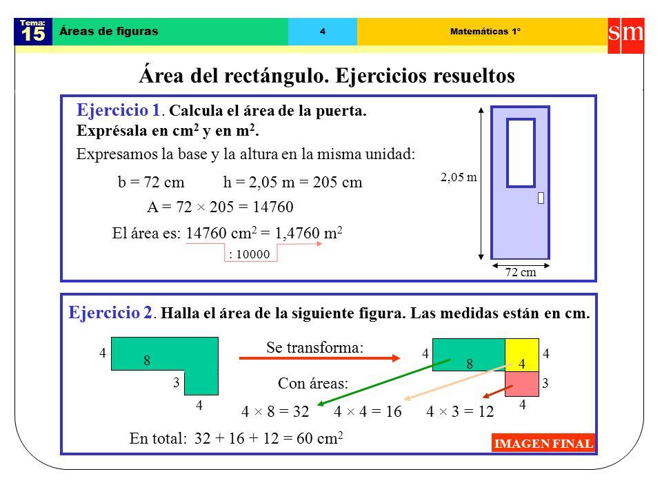 Tema: 15 Áreas de figuras 4Matemáticas 1º Área del rectángulo.