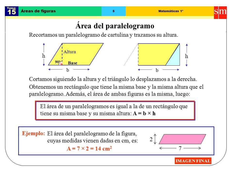 Tema: 15 Áreas de figuras 5Matemáticas 1º Área del paralelogramo Recortamos un paralelogramo de cartulina y trazamos su altura.