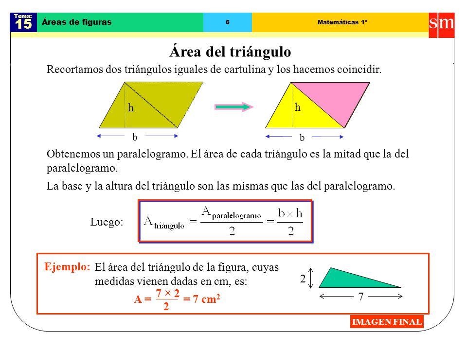 Tema: 15 Áreas de figuras 6Matemáticas 1º Área del triángulo Recortamos dos triángulos iguales de cartulina y los hacemos coincidir.