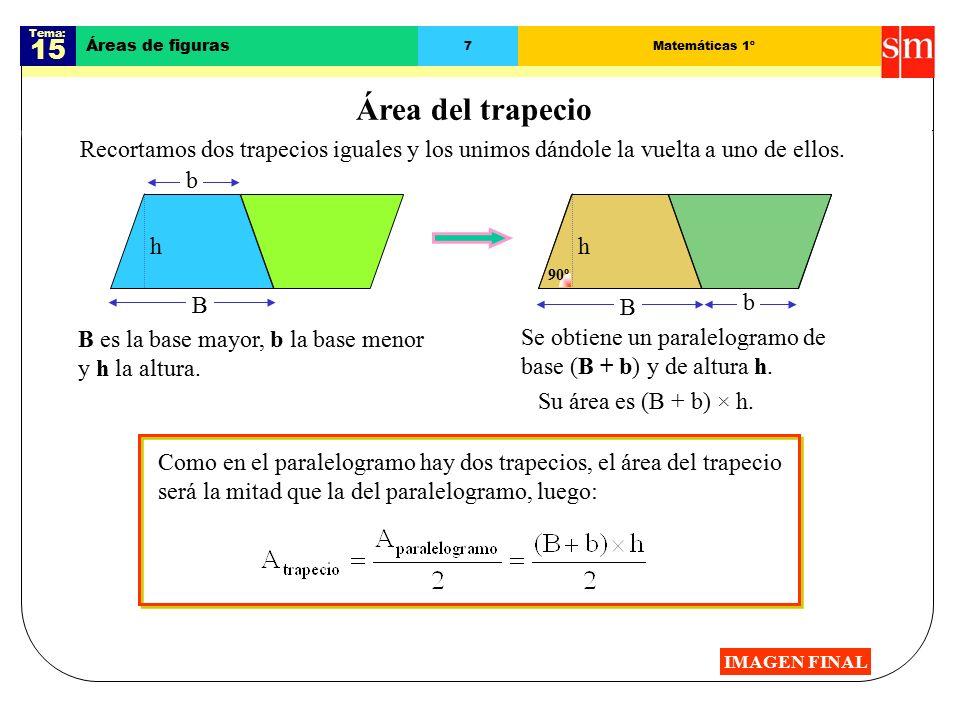 Tema: 15 Áreas de figuras 7Matemáticas 1º Área del trapecio Recortamos dos trapecios iguales y los unimos dándole la vuelta a uno de ellos.