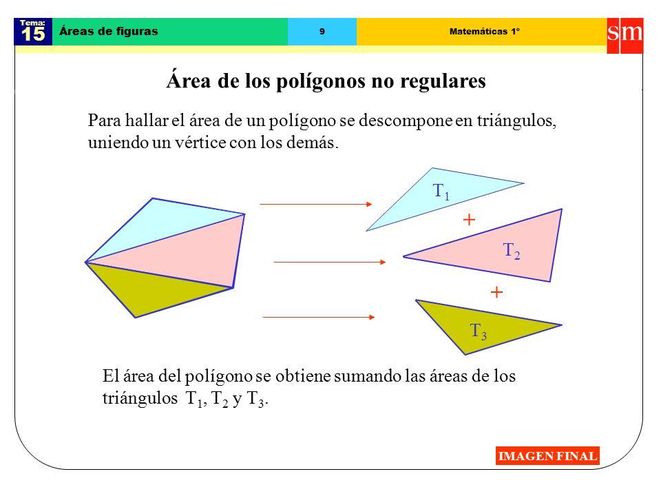 Tema: 15 Áreas de figuras 9Matemáticas 1º Área de los polígonos no regulares Para hallar el área de un polígono se descompone en triángulos, uniendo un vértice con los demás.