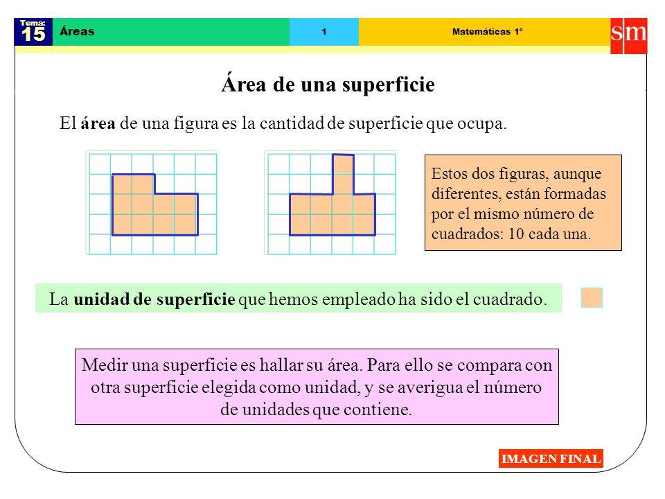 Tema: 15 Áreas 1Matemáticas 1º Área de una superficie El área de una figura es la cantidad de superficie que ocupa.