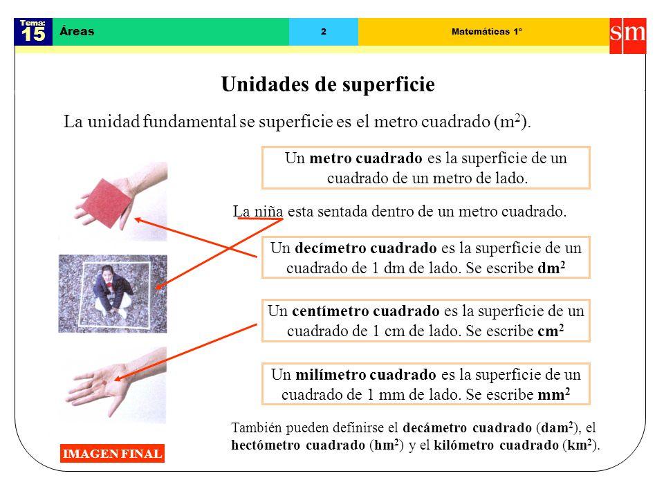 Tema: 15 Áreas 2Matemáticas 1º Unidades de superficie La unidad fundamental se superficie es el metro cuadrado (m 2 ).