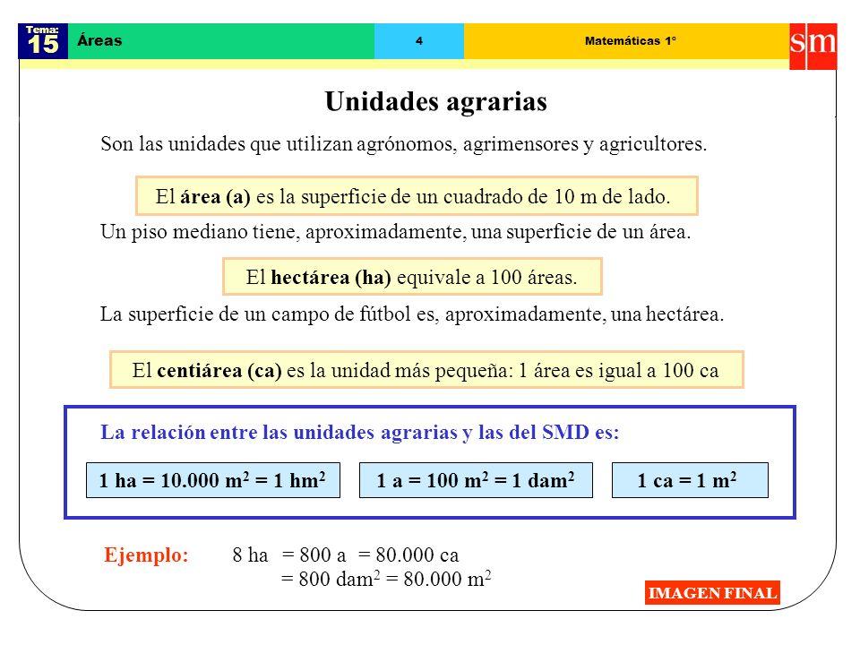Tema: 15 Áreas 14Matemáticas 1º Resolución de problemas IMAGEN FINAL Como es un polígono regular, su área es: Hacer un dibujo para comprender Primero: Problema : Calcula la superficie del hexágono regular inscrito en una circunferencia de radio 8 cm.