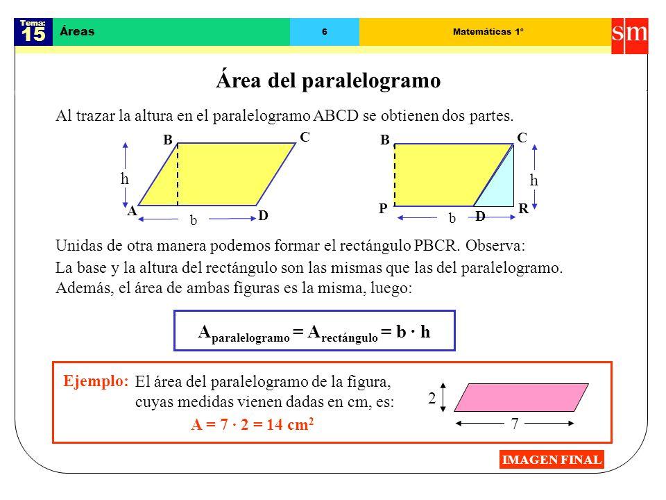 Tema: 15 Áreas 5Matemáticas 1º Área del rectángulo y del cuadrado El largo del rectángulo de la figura es 8 cm, y el ancho es 4 cm.