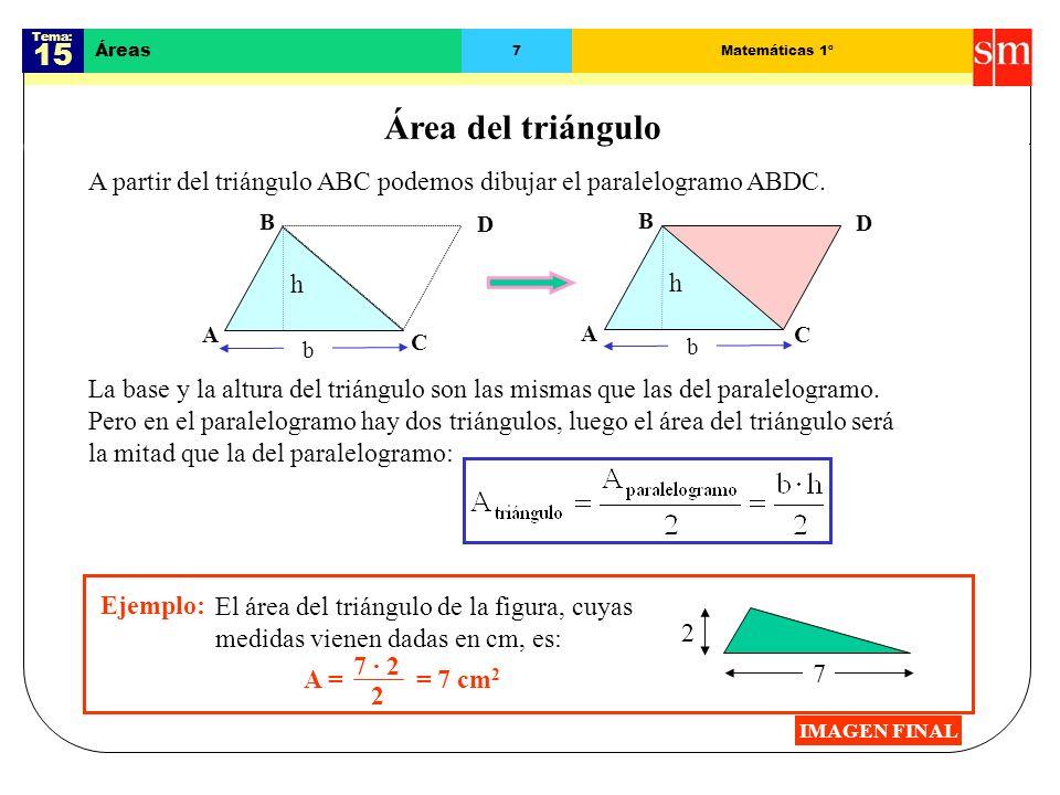 Tema: 15 Áreas 6Matemáticas 1º Área del paralelogramo Al trazar la altura en el paralelogramo ABCD se obtienen dos partes.