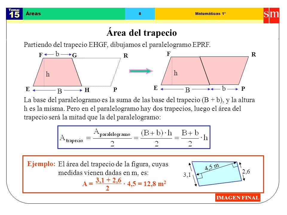 Tema: 15 Áreas 8Matemáticas 1º Área del trapecio Partiendo del trapecio EHGF, dibujamos el paralelogramo EPRF.